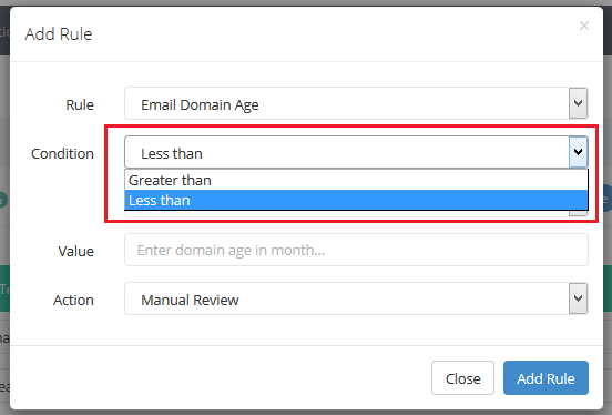 configure fraud rules - email domain age validation