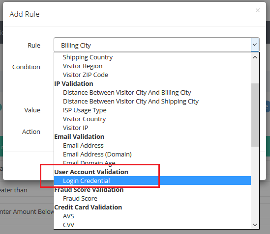 high risk username and password validation