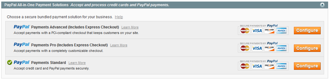 magento paypal configuration completed