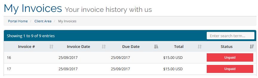 whmcs client invoices