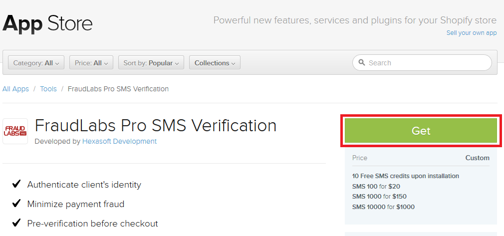 How to configure FraudLabs Pro SMS Verification App on Shopify