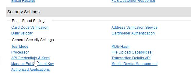 authorize.net api and credentials