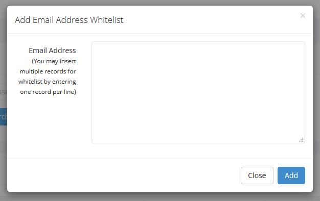 whitelist by email address