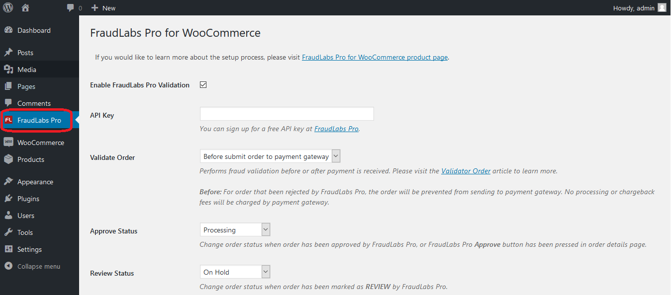 FraudLabs Pro for WooCommerce menu
