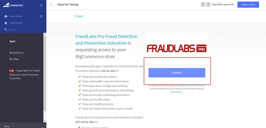 setup fraud protection for BigCommerce