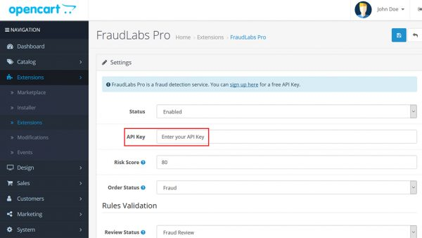setup fraud protection in OpenCart