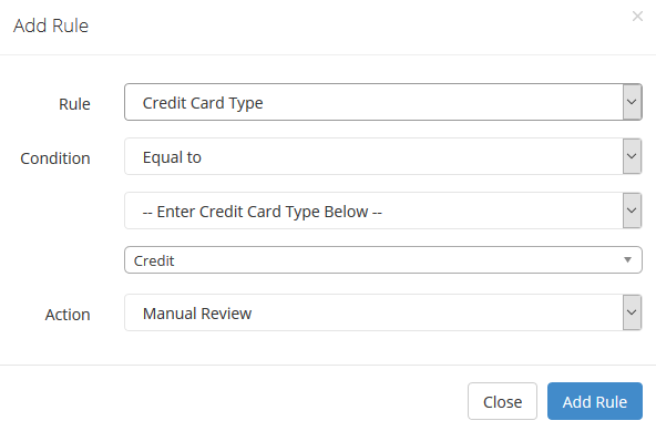credit card type configuration