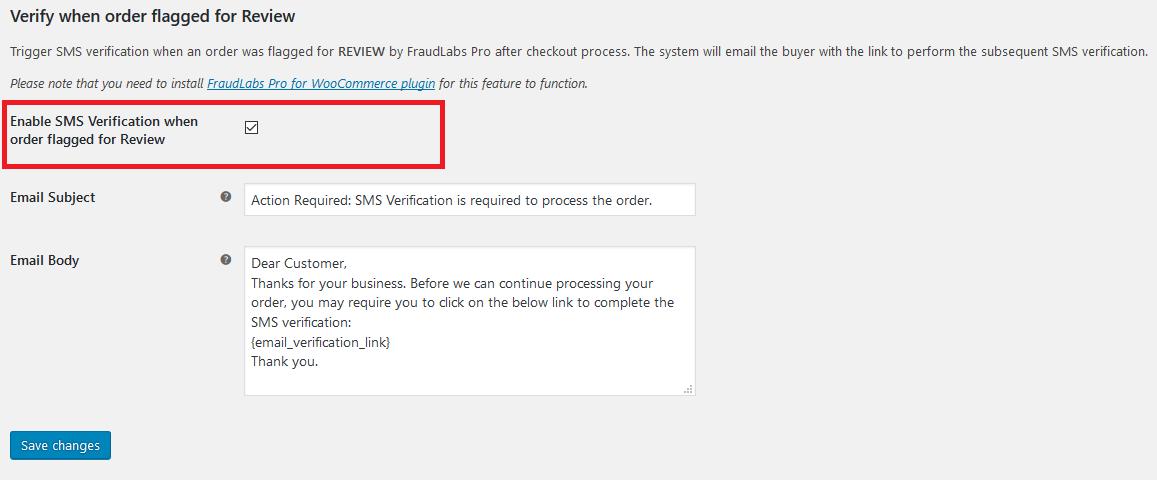 FraudLabs Pro SMS Verfication WooCommerce Settings