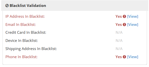 blacklist validation