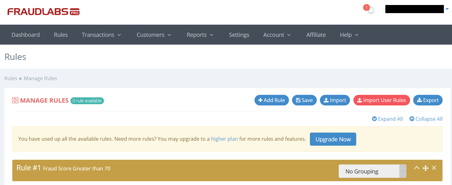 FraudLabs Pro Rule page settings
