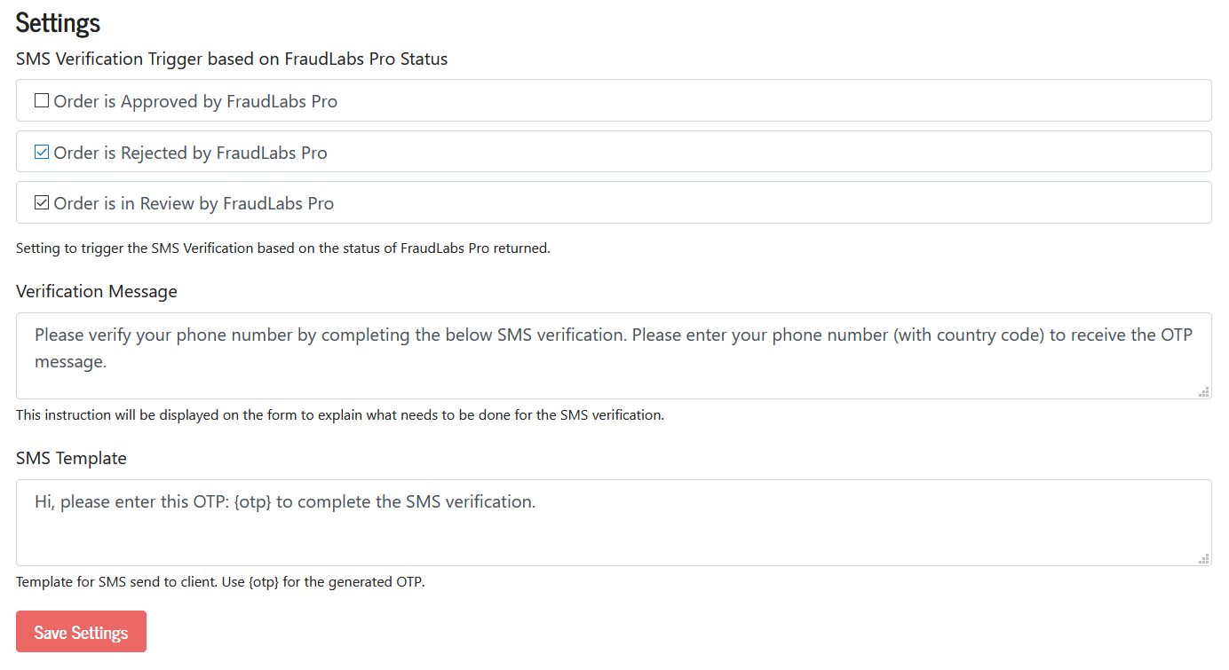 FraudLabs Pro SMS Verification AddOns Settings page