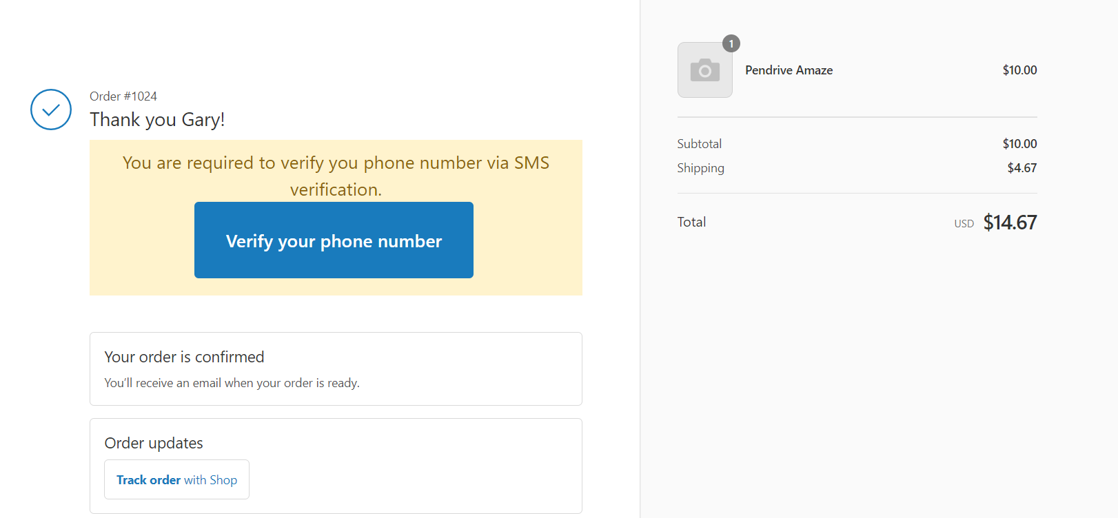 SMS Verification on Thank you page