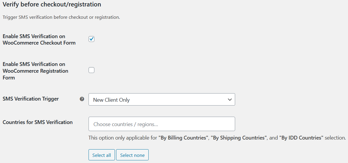SMS Verification for First time user in WooCommerce