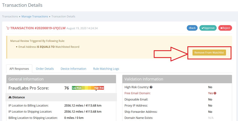 Remove watchlist through transaction details page