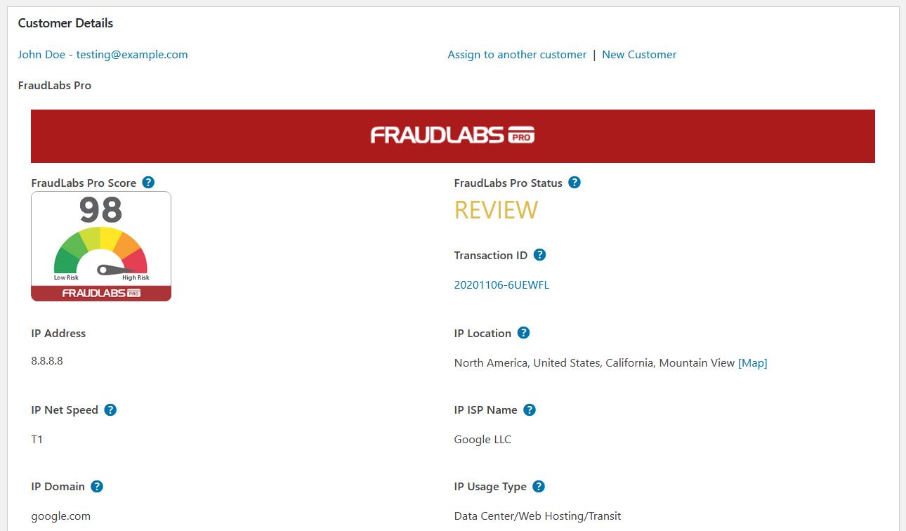 FraudLabs Pro Result