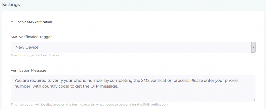 Settings of SMS Verification for New Device on Shopify