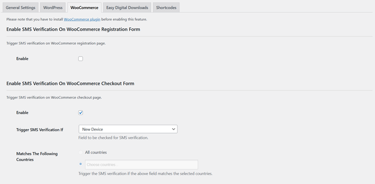Settings of SMS Verification for New Device on WooCommerce