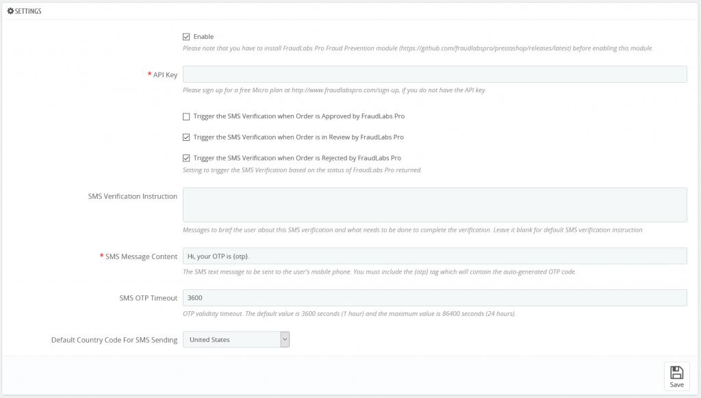 FraudLabs Pro SMS Verification Module Settings