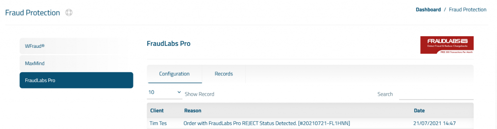 FraudLabs Pro Records